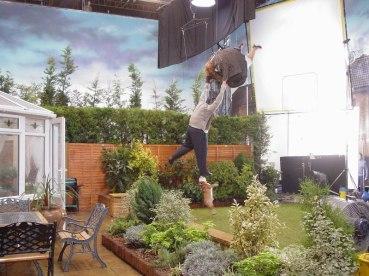 Stunt double on set